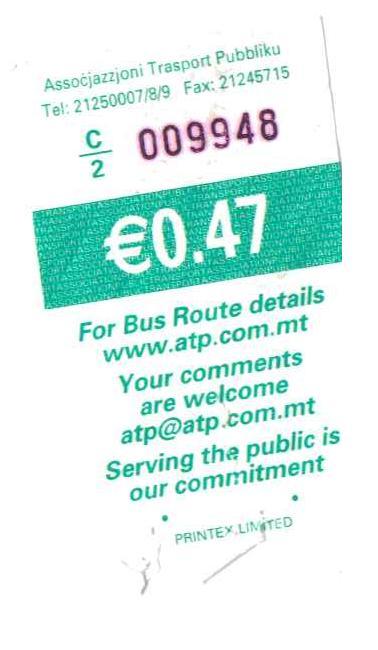 bus ticket 1 | Maltese History & Heritage
