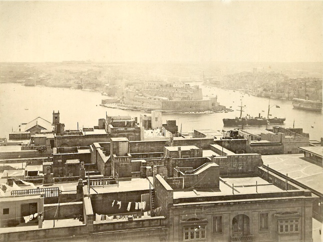 Valletta rooftops and Grand Harbour circa 1870s