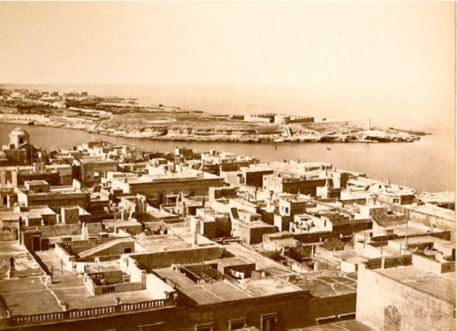 Valletta rooftops with desolate Sliema in background circa 1870s