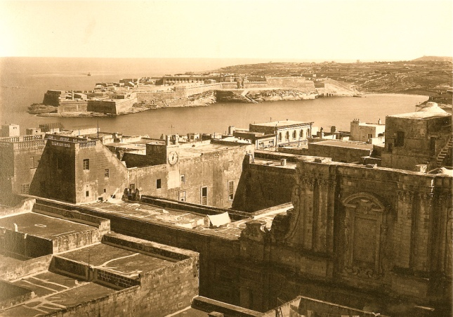 Valletta rooftops with Fort Ricasoli in the background circa 1860s
